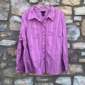 Lane Bryant long sleeve blouse, pink 26/28